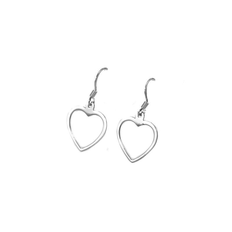 Boucles d'oreilles en argent forme coeur évidé
