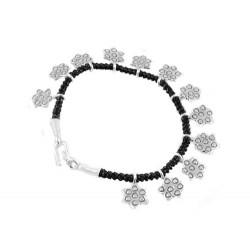 Bracelet en argent et coton tressé