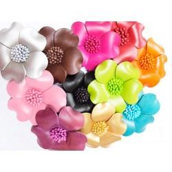 Broche fleur en cuir coloré - Divers coloris accessoires