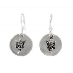 Boucles d'oreilles en argent, cercles et fées