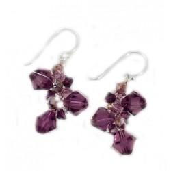 Boucles d'oreilles en fil argenté et cristal violet