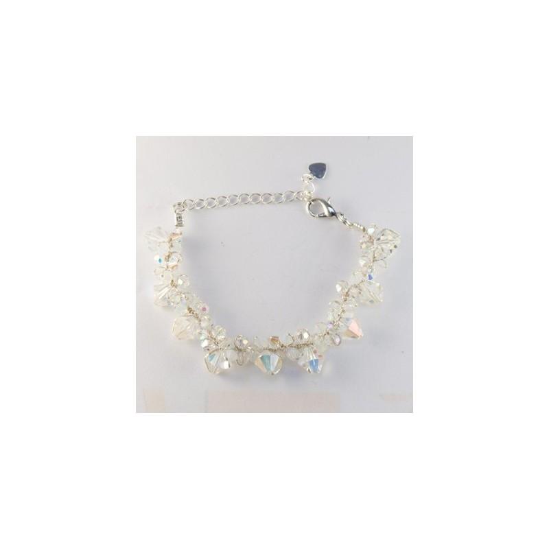 Bracelet fil argenté et cristal BLANC et transparent