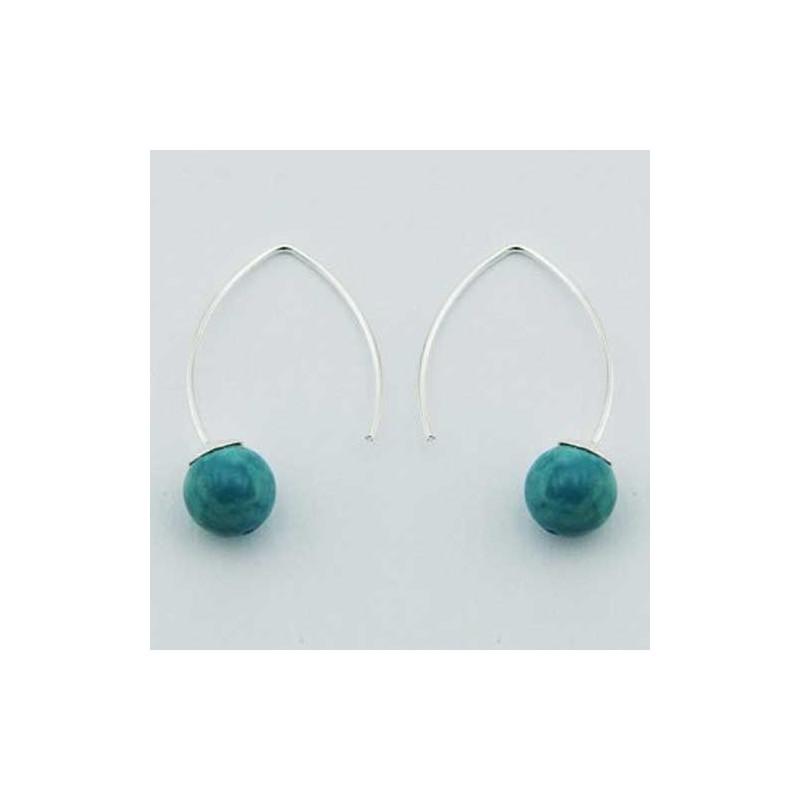 Boucles d'oreilles originales turquoise et argent