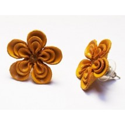 Boucle d'Oreilles FLEUR CUIR jaune