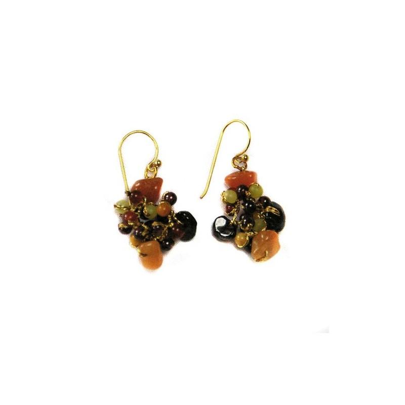 Boucles d'oreilles fil doré et pierres naturelles