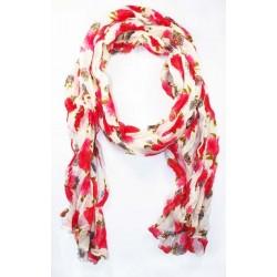 Foulard en coton, blanc et rose