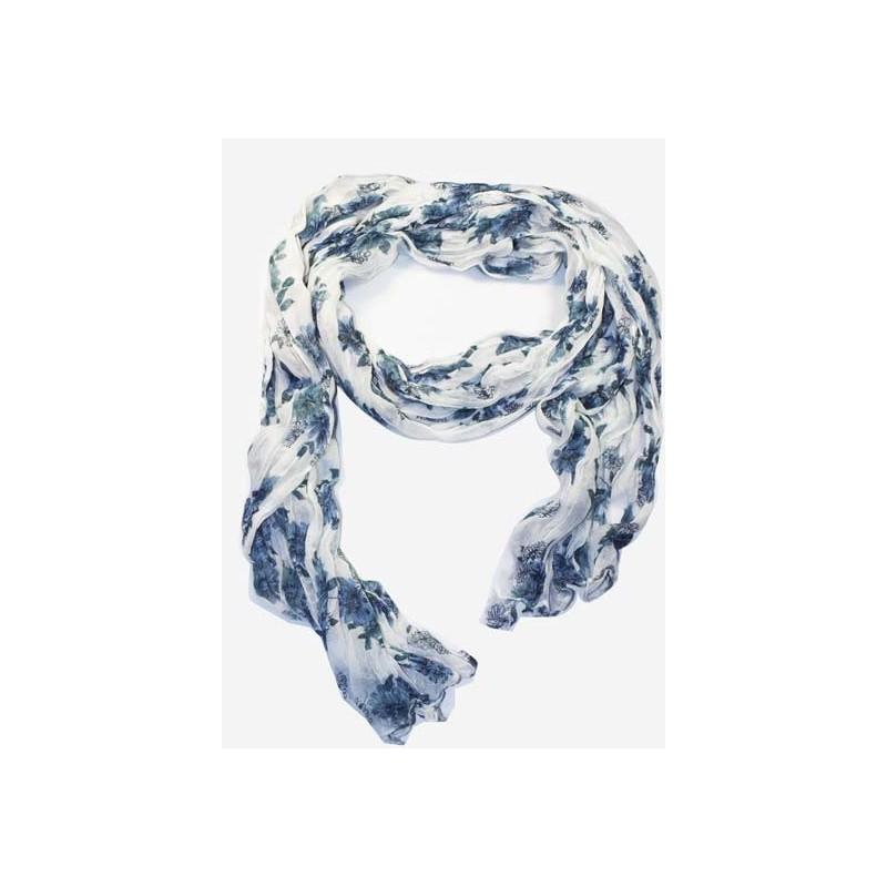 Foulard en coton, blanc et gris