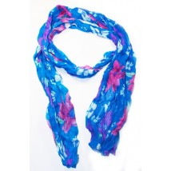 Foulard en coton, bleu et rose