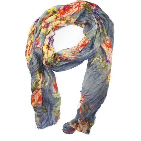 Foulard en coton, gris, orange, violet