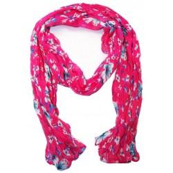 Foulard en coton rose et bleu