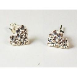 Boucles d'oreilles strass blanc en argent, forme coeur