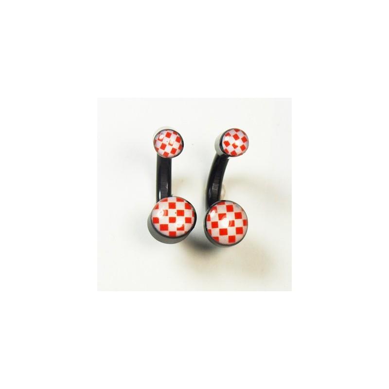 Boucles d'oreilles noires carreaux rouges et blancs