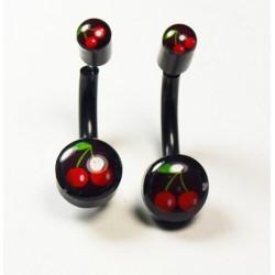 Boucles d'oreilles noires motif cerises