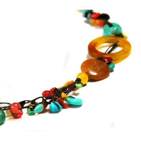 Collier en fil de soie et pierres naturelles, turquoise...