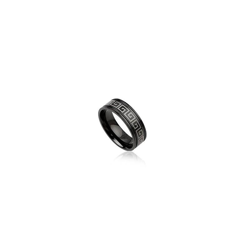 Bague, anneau noir en acier MOTIF GREC