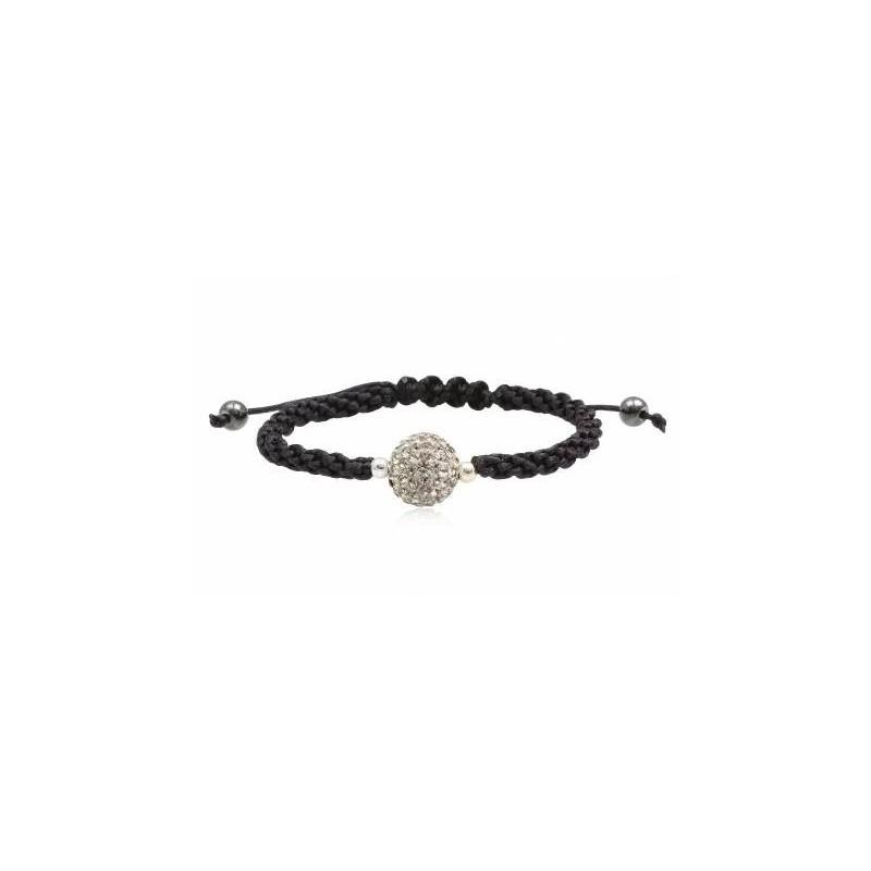 Bracelet SHAMBALLA strass blanc et coton noir