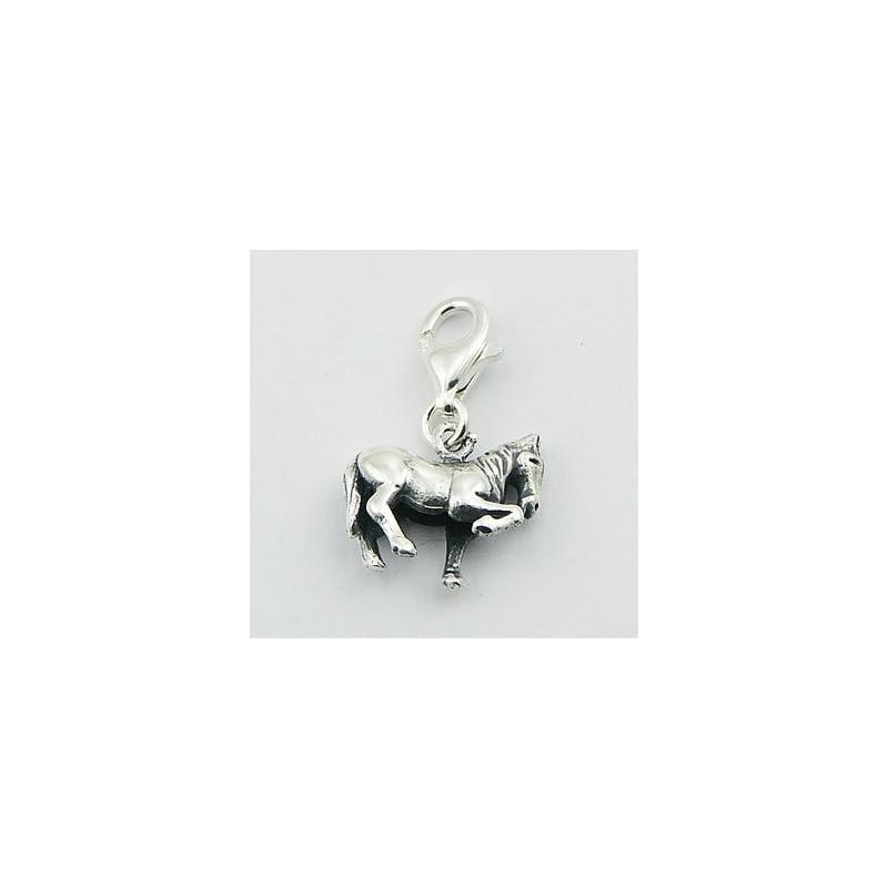 Pendentif, charm en argent forme de cheval