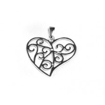 pendant silver form heart with spirals
