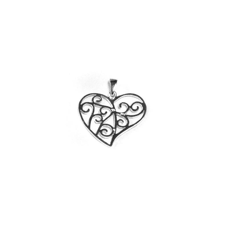 Pendentif en argent forme coeur ajouré, motifs spirales