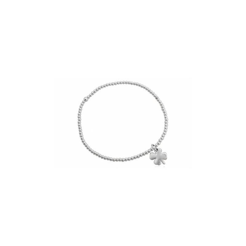 Bracelet argent elastique maille boule et étoile en argent