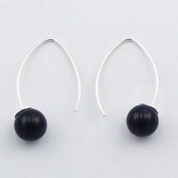 Boucles d'oreille en argent agate noire