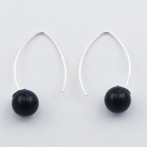silver earrings and black agate