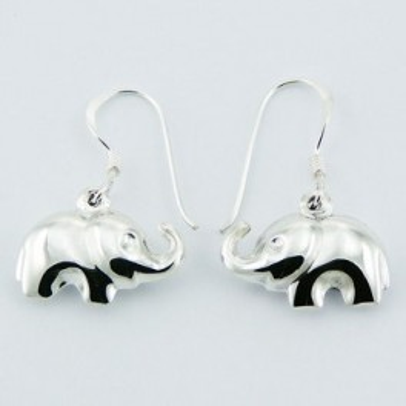 Boucles d'oreilles éléphant en argent