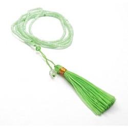 Collier long en perle de rocaille et pompon vert