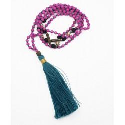 Long collier, perles rose fuschia, pompon vert foncé, perles de strass et noir