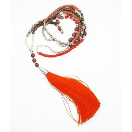 Collier pompon long rouge et gris