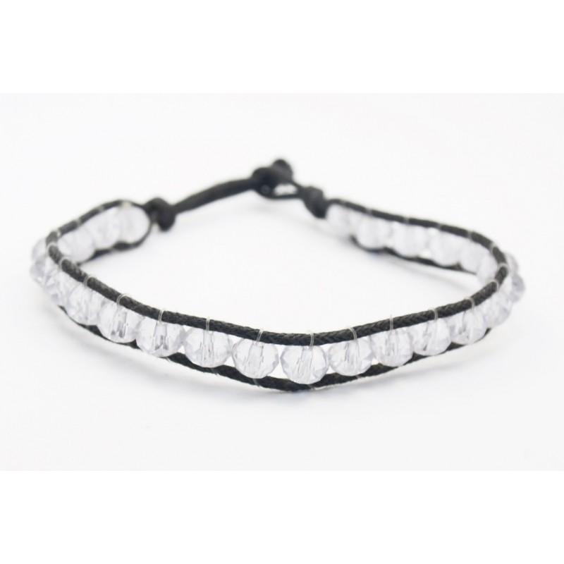 Bracelet perles de cristal blanc et fil de coton noir