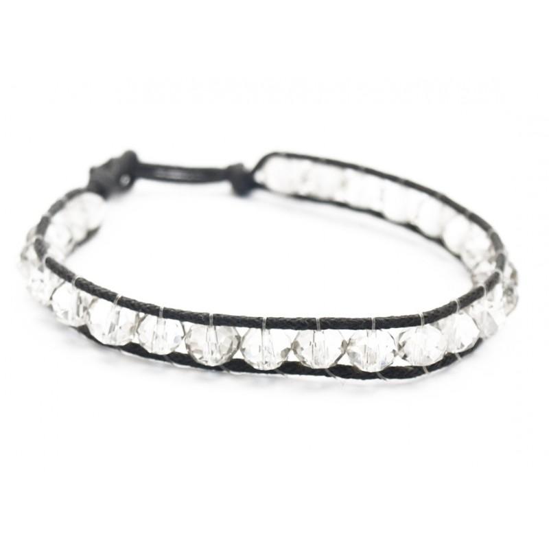 Bracelet perles de cristal transparent et fil de coton noir