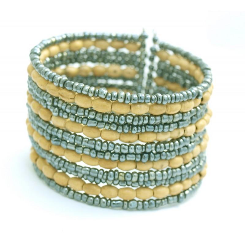 Gros bracelet rigide en perles de rocaille et bois