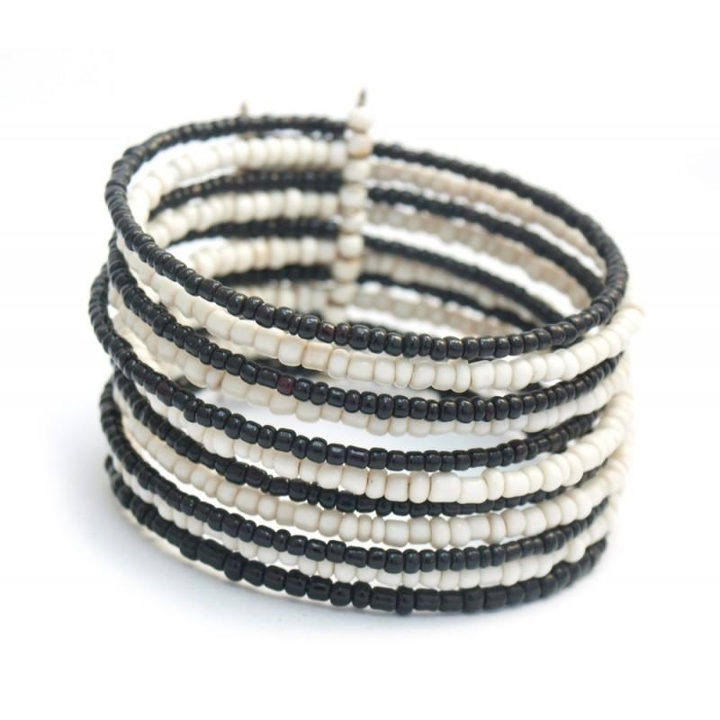 Bracelet rigide en perles noires et blanches