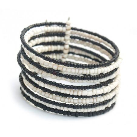 Bracelet manchette en perles noires et blanches