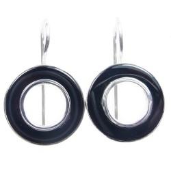 Boucles d'oreilles en argent agate noire