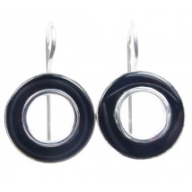 earrings circle with black agate