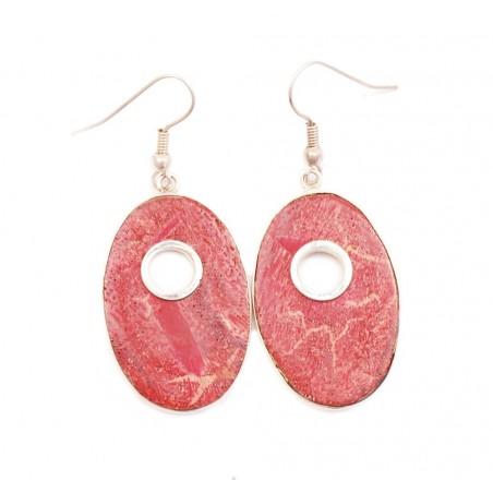 Boucles d'oreilles en gorgone rouge ovales