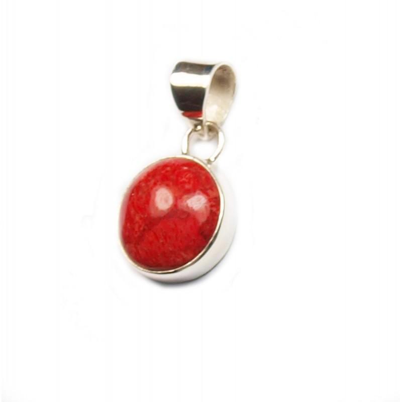 Pendentif rond en argent et gorgone rouge