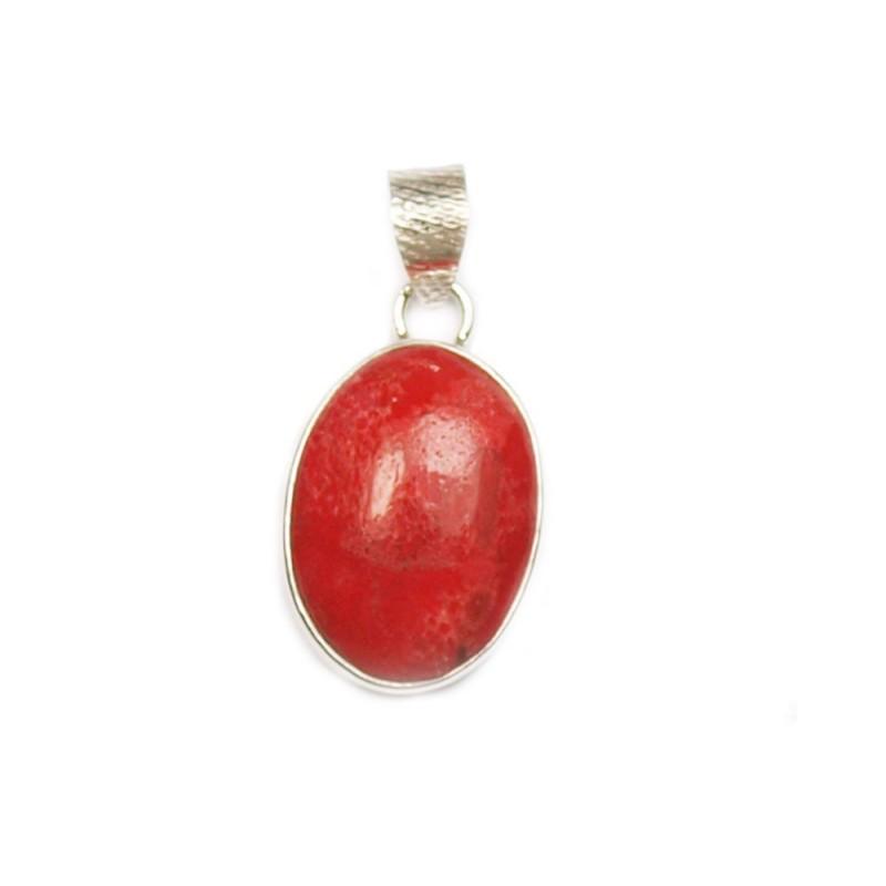 Pendentif oval argent et gorgone rouge