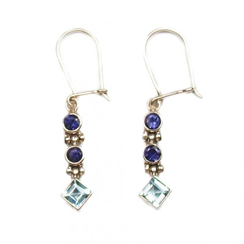 Boucles d'oreilles en argent, topaze bleue et Iolite