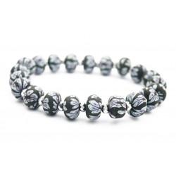Bracelet élastique perles fimo fleurs noires et perle cristal