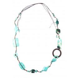 Collier en fil de soie et pierres naturelles, turquoises reconstituées