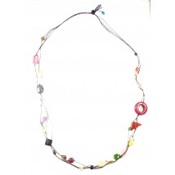 collier long en fil de soie et pierres naturelles plusieurs couleurs
