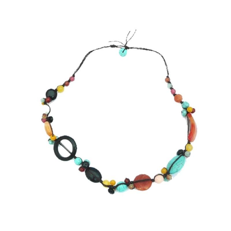 Collier en fil de soie et pierres naturelles, turquoise, jaspe...