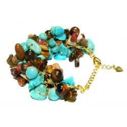 Bracelet fil doré et pierres