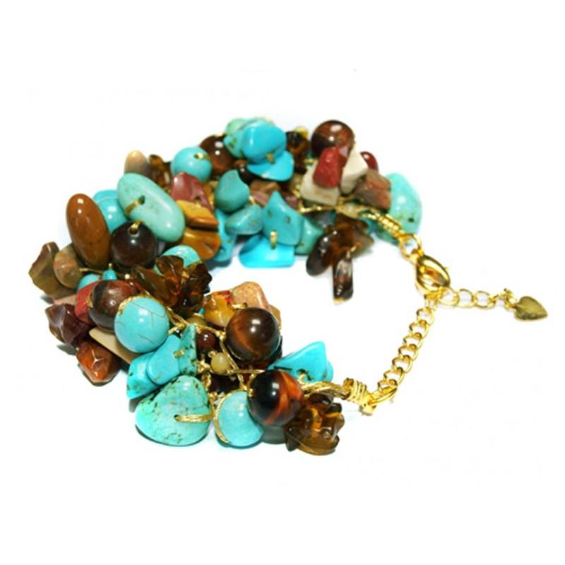 Bracelet en fil doré et pierres naturelles