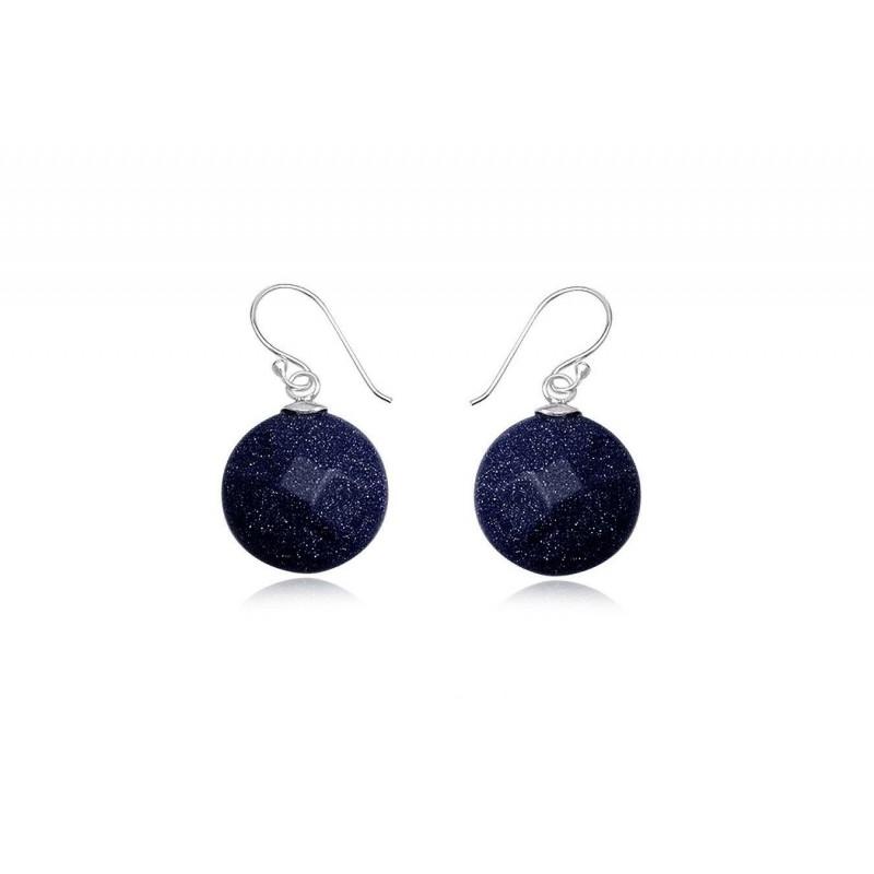 Boucles d'oreilles, en argent et pierre blue sand stone