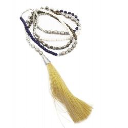 Collier pompon long beige et violet