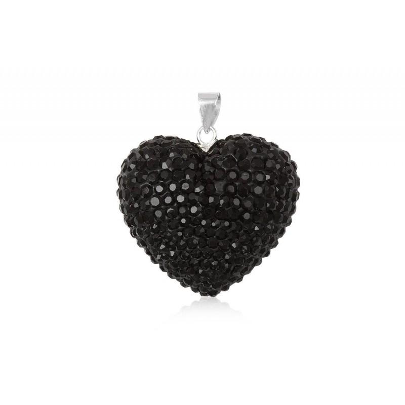 Gros coeur noir en strass et argent